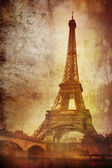 Eiffel tower on grunge background — Stockfoto