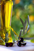 Olives and oliveoil. — Stock Photo