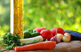 Oliveoil and vegetables. — Stock Photo