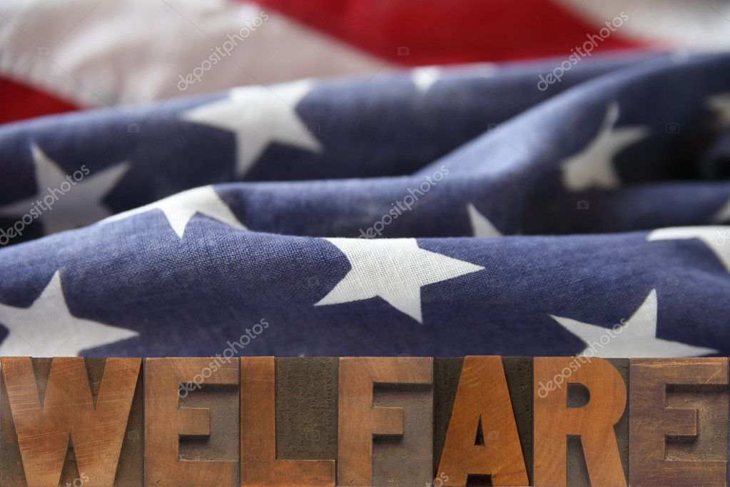 The word welfare on an American flag background — Stock Photo #2509662