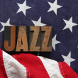 American flag with jazz word — Stock Photo