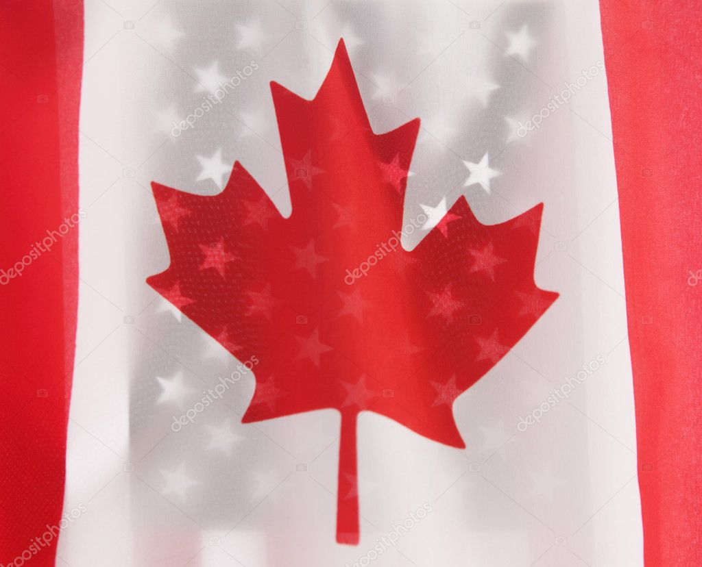 The flags of Canada and the USA  Stock Photo #2510649