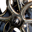 Stock Photo: Flywheel of 1901 letterpress close up