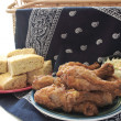 Stock Photo: Fried chicken and cornbread