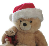 Santa teddy with little bear on lap — Stock Photo