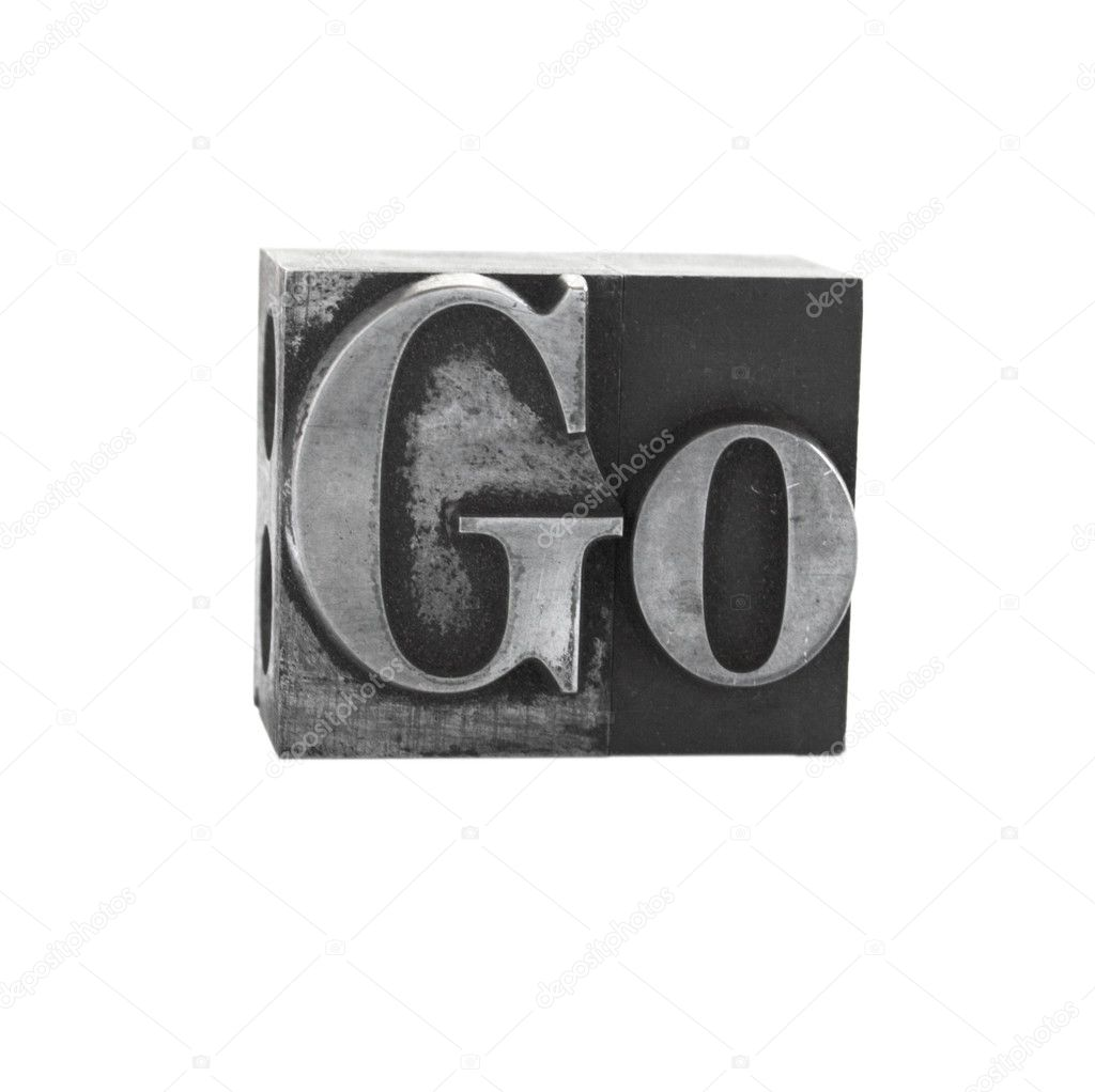 The word go in letterpress lead type — Stock Photo #2575861