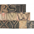 Outline letters in wood R-Z — Stock Photo
