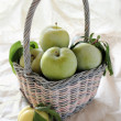 Fresh green plums in a pastel basket — Stock Photo #2595683