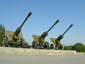 Three field guns — Stock Photo