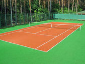 Tennis court in coniferous wood — Stock Photo