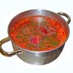 Ukrainian cuisine - red borscht — Stock Photo #2207449