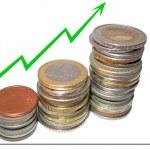Graph growth finances accumulation — Stock Photo