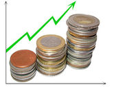 Graph growth finances accumulation — Stock Photo