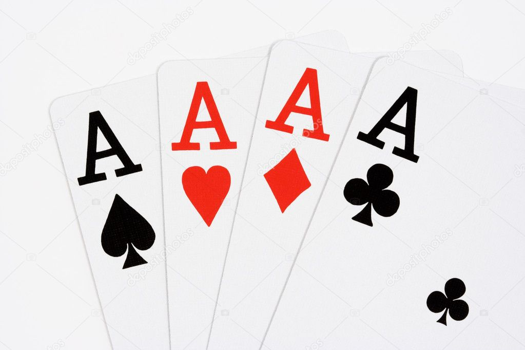 Four aces on white background — Stock Photo #1910073