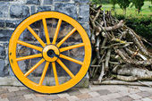 Wooden Wagon Wheel and Branches — Stock Photo
