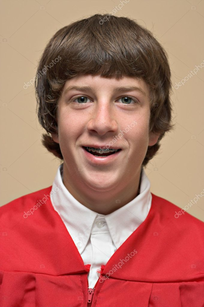 Portrait of a boy in a red confirmation gown — Stock Photo #2247966