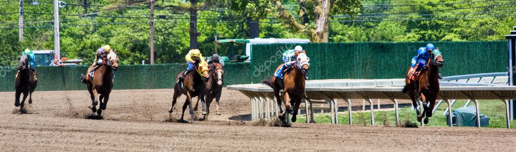 A horse race in a panoramic format — Stock Photo #2262039