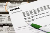 Jobs in the newspaper concept - with resume and a classified ads. — Stock Photo