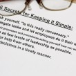 Six secret for keeping simple - Stock Photo