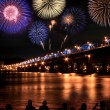 Spectacular Fireworks at Han River — Stock Photo