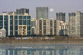 Buildings on the riverbank — Stock Photo