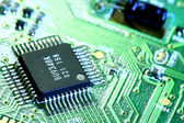 PCB board and electronic components — Stock Photo