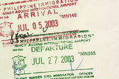 Arrival Departure visa stamps — Stock Photo