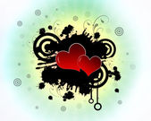 Hearts in splatter — Stock Photo