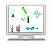 3D object in Lcd Television — Stock Photo