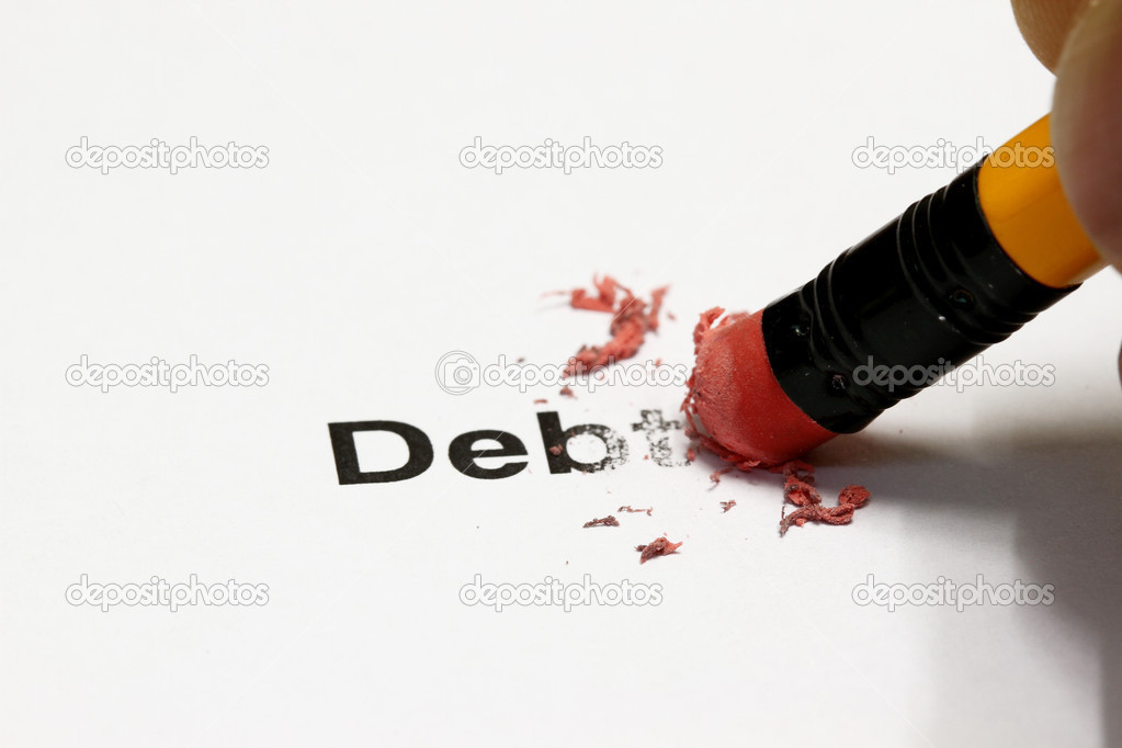 Debt being erased by the end of a pencil, word implies debt — Stock Photo #2474025
