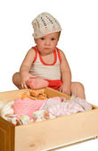 Baby in the white hat — Stock Photo