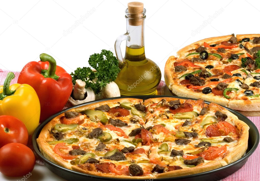 Still-life with pizza. Studio. Isolated on white background. — 图库照片 #1912696