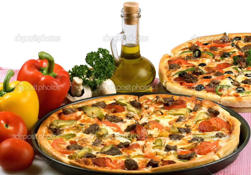 Still-life with pizza. Studio. Isolated on white background.  Foto de Stock   #1912696