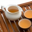Green tea in cups on wooden tray — Stock Photo