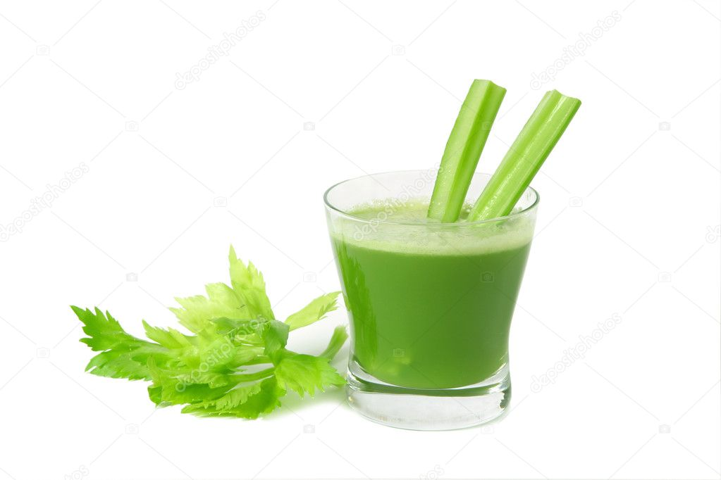 A glass of fresh vegetable celery juice  isolated on white background. — Stock Photo #1971549