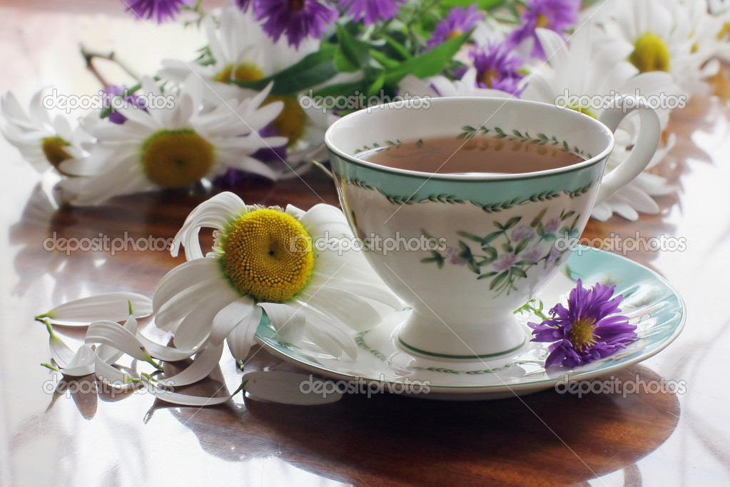 Still-life with cup of herbal tea and  flowers — Stock Photo #1971790