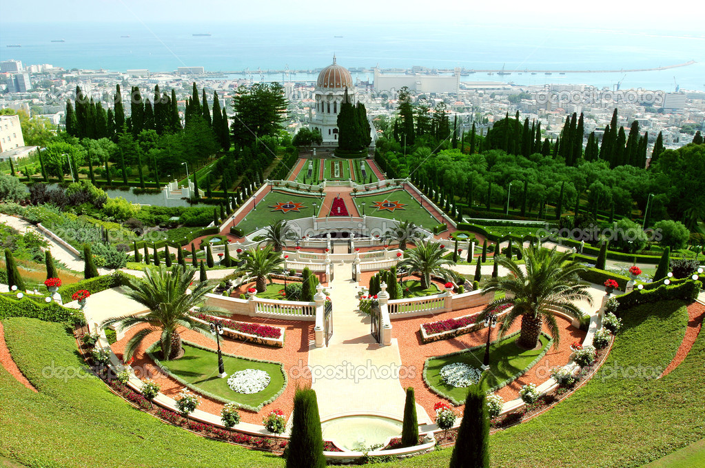A beautiful view of the Bahai Gardens in Haifa Israel.  Stock Photo #2126646