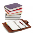 Notebook, pen and books — Stock Photo