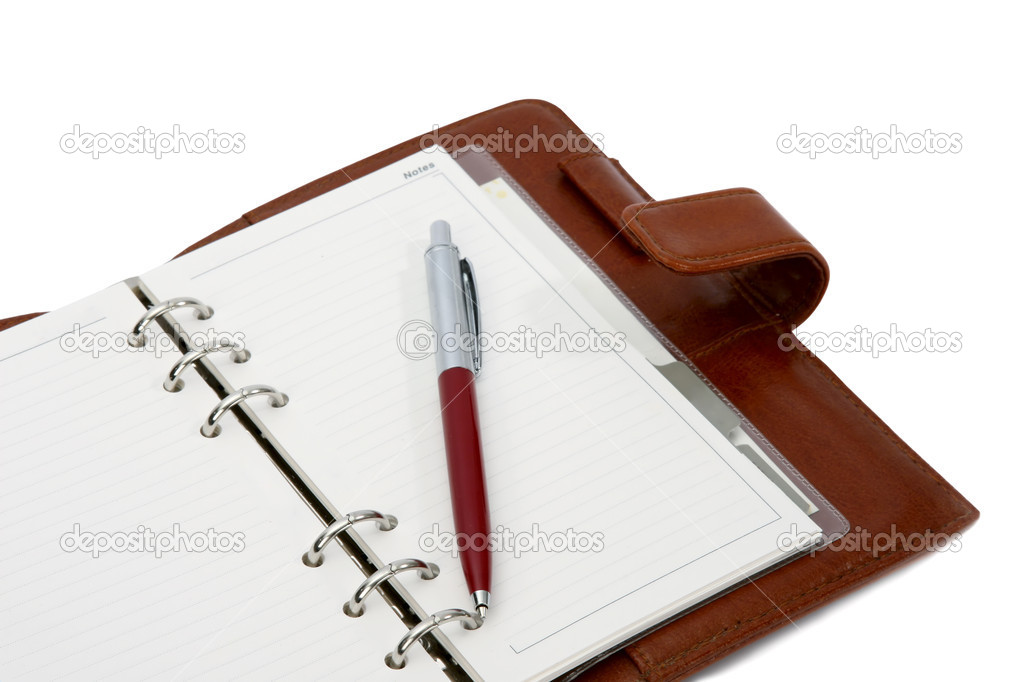 Agenda and pen ball. Close up — Stock Photo #2156060