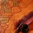 Quill, Inkwell & map — Stock Photo