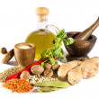 Spices, herbs and  olive oil — Stock Photo