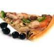 Pizza slice with olives. — Stock Photo