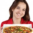 Girl with pizza — Stockfoto