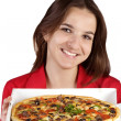 Girl with pizza — 图库照片