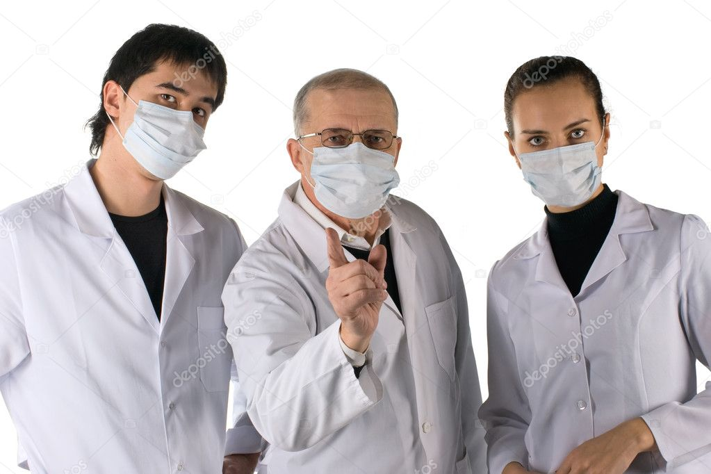 A medical team warns about a flu pandemic. On white background   Stock Photo #2238095