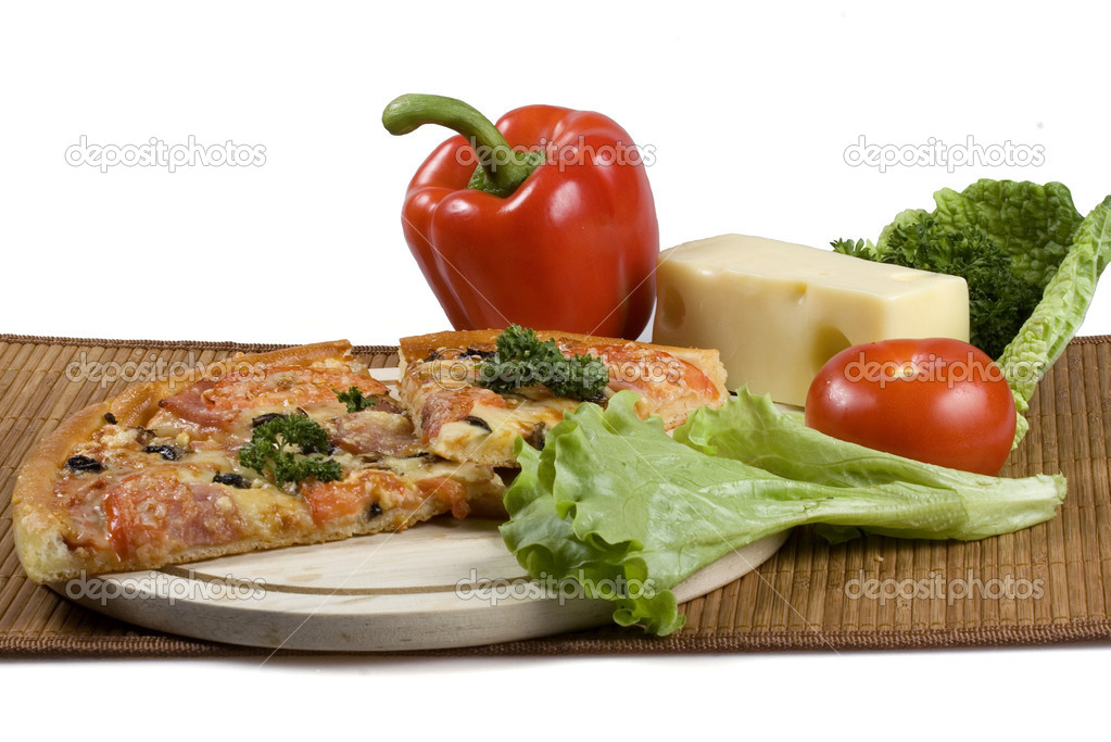Still-life with pizza and vegetables on white background. — Stock Photo #2238673