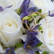Foto Stock: Wedding rings and roses