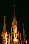 Outdoor of Catholic cathedral at night — Stock Photo