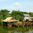 Houses on stilts.Cambodia. - Stock Photo