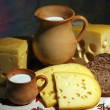 Cheese, milk and bread — Stock Photo